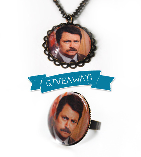 mandaroux:  Giveaway time! What you can win: 1 Ron Swanson necklace OR 1 Ron Swanson ring. Your choice! How to win: Reblog this post only once!  When it will end: Saturday, September 10th. A winner will be chosen at random. Please only enter if you feel comfortable giving me your address! Otherwise how will I know where to ship it?! And that being said, please only enter if you have your ask box enabled so I can get in touch with you!   GAH. WANT