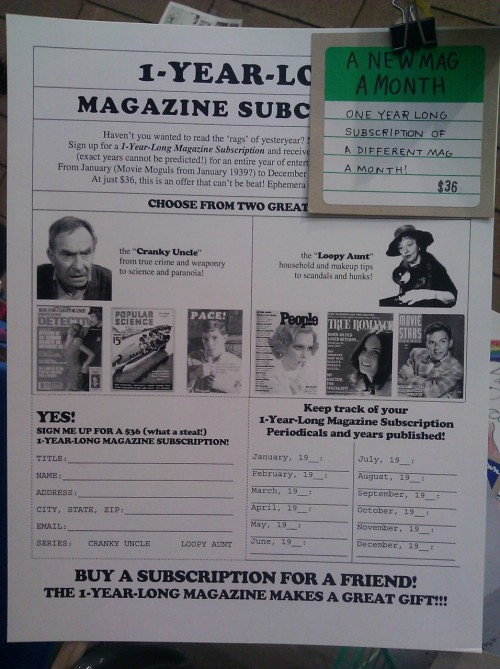 zine fest, vintage mag subscription