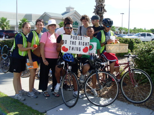 CIW members are taking a 200 mile bike ride from Immokalee to Lakeland, in order to ask the CEO of Publix Supermarkets, Ed Crenshaw, to finally meet with them and join the fair food campaign.  Publix has the power to give these farmworkers a living wage and improve their working conditions—all they have to do is join the other 90% of the tomato industry and increase the price of their vegetables by one cent!  A penny is all it takes to get the farmworkers out of poverty!  visit Ed Crenshaw of Publix in Lakeland, Fla.