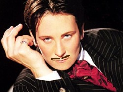 It turns out if you draw a mustache on k.d. lang, she looks just like Kevin Kline!!!!