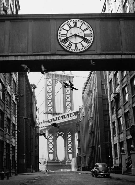 matthewtrevithick:  Overhead Crosswalk with clockNew York City1947   Photograph by André Kertész  DUMBO