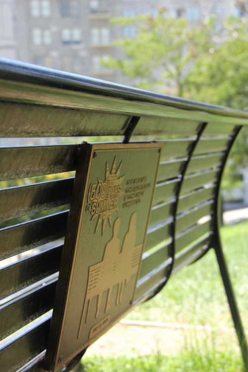 speaksoftlyandcarrybigstick:  Tom's favorite spot, with the bench in Angel's Knoll, a small green space overlooking downtown Los Angeles and the old Angel's Flight railway. Entered at the corner of West Fourth Street and Olive Street. There are a few benches, so look for the one which bears a plaque commemorating the park's place in cinema history.