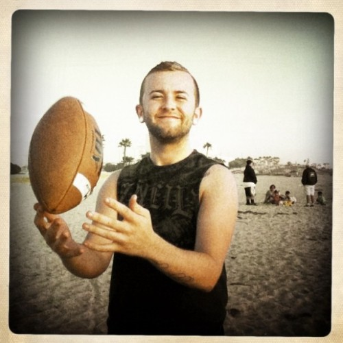 @jooordy89 #beach #oceanside #football #hipstamatic (Taken with instagram)