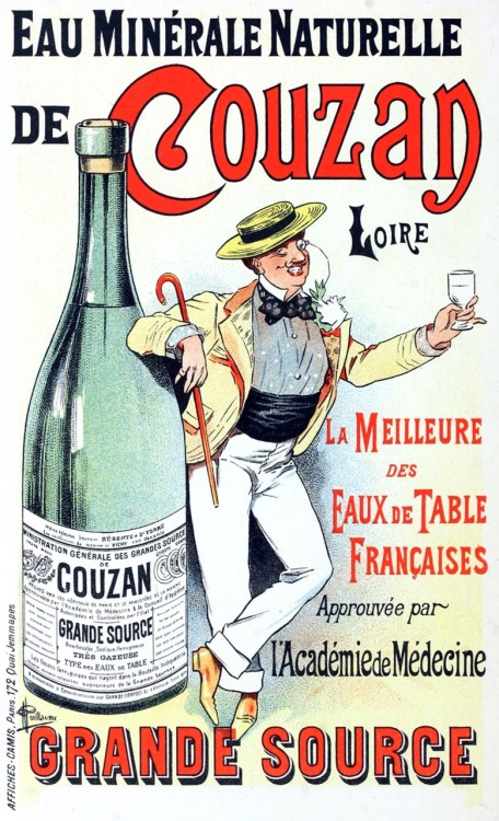 oldbookillustrations:  Eau minérale de Couzan. Albert Guillaume, from Les affiches illustrées (1886-1895)  [Illustrated posters (1886-1895)], by Ernest Maindron, Paris, 1896. (Source: archive.org)