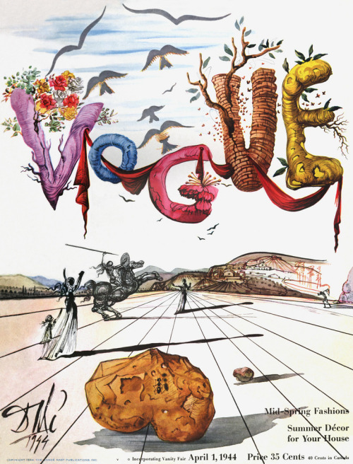 Portada de Dalí para Vogue Magazine - 1944 typeverything:  Typeverything.com - Dali for Vogue in 1944.