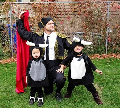 Baby Bulls & The Matador | Rae Gun Ramblings This is the cutest costume set ever! There aren't any directions on how to create the costumes but you can kind of work it out from the pictures. It can be hard to create costumes for kids that match with the parents that aren't dorky! I think I will suggest this idea to my sister for Halloween this year - my niece would make the most adorable bull!