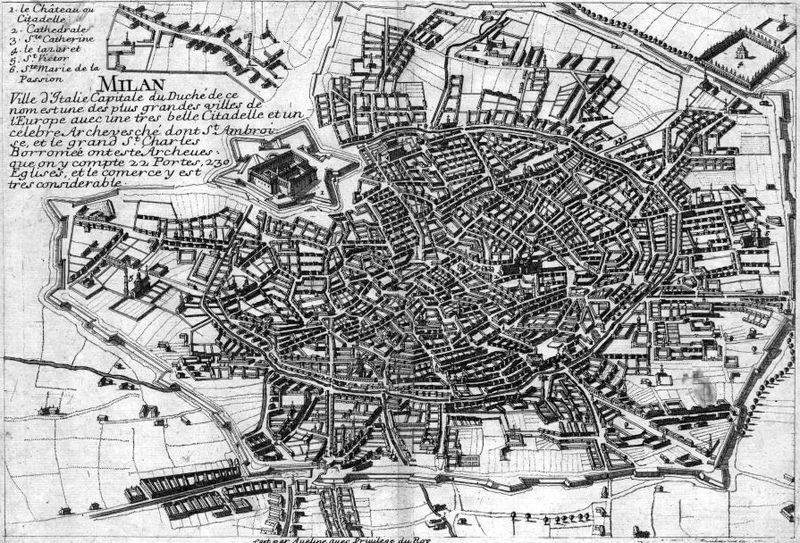 Map of Milan in the 18th century