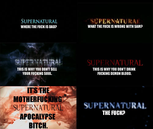 sourmoose:  ridingcropinthemortuary:  SUPERNATURAL SEASONS 1-6 : A SUMMARY.  Update:
