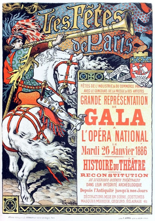 oldbookillustrations:  Les Fêtes de Paris. Eugène Grasset, from Les affiches illustrées (1886-1895)  [Illustrated posters (1886-1895)], by Ernest Maindron, Paris, 1896. (Source: archive.org)