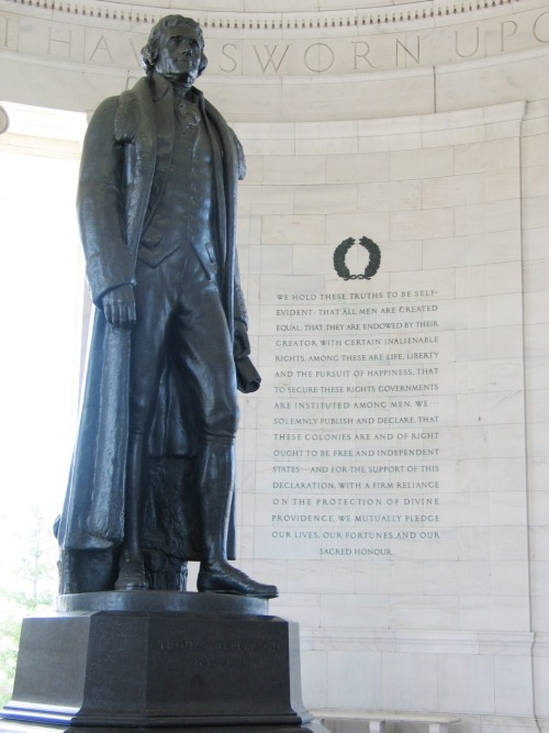 Jefferson Memorial in Washington D.C. with excerpts from the Declaration of Independence in background