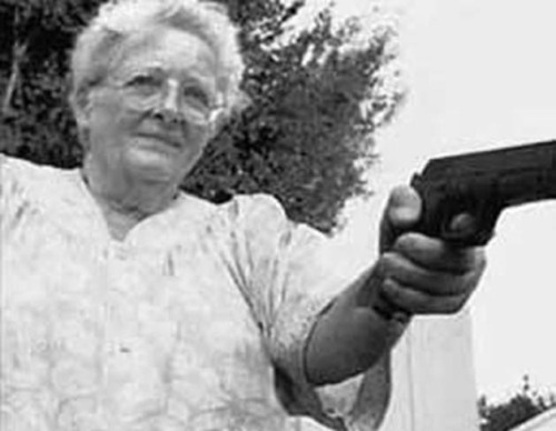 "andrew-mcmannequin:  Gun-toting granny Ava Estelle, 81, was so ticked-off when two thugs raped her 18-year-old granddaughter that she tracked the unsuspecting ex-cons down… And shot off their testicles. ""The old lady spent a week hunting those men down and, when she found them, she took revenge on them in her own special way,"" said police investigator Evan Delp. Then she took a taxi to the nearest police station, laid the gun on the sergeant's desk and told him as calm as could be: ""Those bastards will never rape anybody again, by God."" Cops say convicted rapist and robber Davis Furth, 33, lost both his penis and his testicles when outraged Ava opened fire with a 9-mm pistol in the hotel room where he and former prison cell mate Stanley Thomas, 29, were holed up. The wrinkled avenger also blew Thomas' testicles to kingdom come, but doctors managed to save his mangled penis, police said. ""The one guy, Thomas, didn't lose his manhood, but the doctor I talked to said he won't be using it the way he used to,"" Detective Delp told reporters. ""Both men are still in pretty bad shape, but I think they're just happy to be alive after what they've been through."" The Rambo Granny swung into action August 21 after her granddaughter Debbie was carjacked and raped in broad daylight by two knife-wielding creeps in a section of town bordering on skid row. ""When I saw the look on my Debbie's face that night in the hospital, I decided I was going to go out and get those bastards myself 'cause I figured the Law would go easy on them,""' recalled the retired library worker. "" And I wasn't scared of them, either - because I've got me a gun and I've been shooting' all my life. And I wasn't dumb enough to turn it in when the law changed about owning one."" So, using a police artist's sketch of the suspects and Debbie's description of the sickos, tough-as-nails Ava spent seven days prowling the wino-infested neighbourhood where the crime took place till she spotted the ill-fated rapists entering their flophouse hotel. ""I knew it was them the minute I saw 'em, but I shot a picture of 'em anyway and took it back to Debbie and she said sure as hell, it was them,"" the oldster recalled… ""So I went back to that hotel and found their room and knocked on the door, and the minute the big one opened the door, I shot 'em right square between the legs, right where it would really hurt 'em most, you know. Then I went in and shot the other one as he backed up pleading to me to spare him. Then I went down to the police station and turned myself in."" Now, baffled lawmen are trying to figure out exactly how to deal with the vigilante granny.. ""What she did was wrong, and she broke the law, but it is difficult to throw an 81-year-old woman in prison,"" Det. Delp said, ""especially when 3 million people in the city want to nominate her for Mayor."""