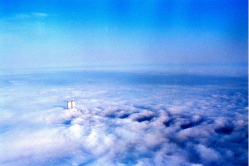 Photo of the World Trade Centers, a few months before 9/11, by Katie Day Weisberger. Nice post about the picture here.