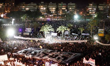 thepoliticalnotebook:  Protesters across Israel rally for social justice, cost of living and the rights of an increasingly embattled middle class. Overall, across the country, roughly 430,000 Israelis turned out. The largest protest was in the capital, Tel Aviv, where 300,000 took to the streets. These widespread and large-scale street demonstrations are the culmination of 50 days of protesting that have thrown a new dynamic into Israel's domestic politics. The protest in Tel Aviv is pictured above, in a photo by Uriel Sinai of Getty Images.  Read the news story at the Guardian.