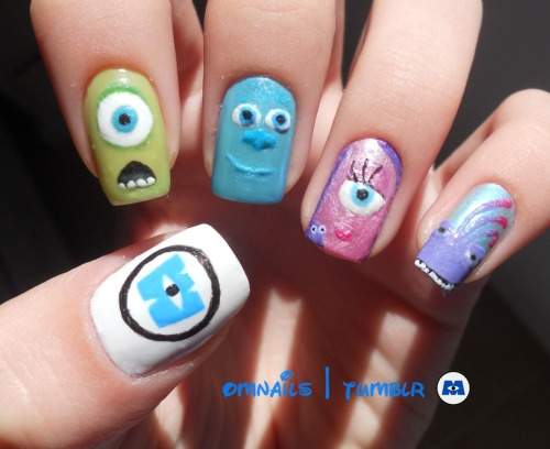 omnails:  Monsters Inc nail art ! | This movie so cute, and I had the idea of painting it on my nails. What do you guys think? I'm happy with my work, is the one I like the most I guess. I tried to paint Boo but she is really hard to paint ): Hope you like it monsters nail lovers, xoxo ♥