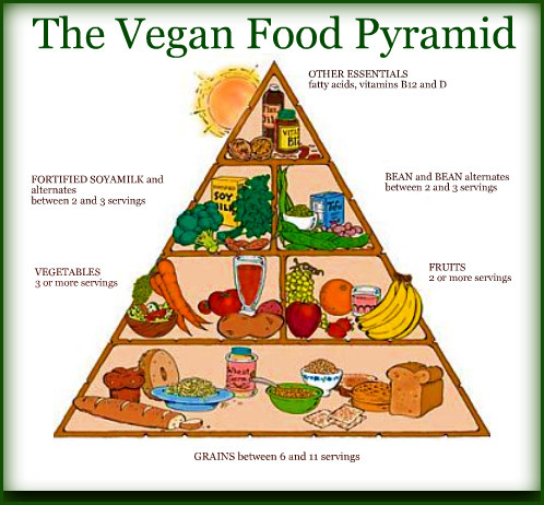 bellaela:  Many vegan people refer to this pyramid, but plenty of times I see them asking: WHAT IS A SERVING? Some examples: 1. Whole grains - one serving is equal to either 1 slice of rye bread, 60-80 g breakfast cereals, 50-60 g cooked grains (such as brown rice, wild rice, quinoa, whole wheat pasta) or 30-40 g of sunflower seeds. They give you energy for a long time - cut unhealthy carbs such as white bread and white rice. 2. Vegetables - a serving of vegetables equals approximately 100 g cooked vegetables and 200 g raw; vegans should eat a lot of green vegetables such as spinach, broccoli, brussels sprouts and kale (they are rich in iron)  3. Fruits - one serving is equal to one piece of fruit, such as banana or big apple, 100-200 g of blueberries, raspberries or 150 ml of fruit juice. Don't overdose on fruits, because they are quite high in sugar. 4. Soy, tofu and beans (proteins) - one serving is equal to 250-300 ml of non-diary milk, 50-60 g beans, 30-40 g nuts (walnuts and almonds are rich in proteins), 150-200 g tofu or meat alternative. 5. Other essentials - this includes healthy fats found in olive oil, flax seeds, chia seeds etc. Use them sparingly. Also, consider taking a B12 vitamin supplement (one tablet daily).