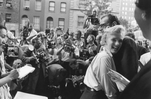 normajeanemonroe:  1956: Marilyn and Arthur announce to a group of reporters that they plan to marry.