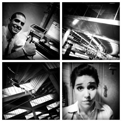 Gerar y Andrea en Atocha #Atendo #diptic #japatocha #hipstamatic #blancoynegro #blackandwhite #bw #bnw #byn #atocha #madrid #spain #people #portrait #retrato  (Taken with Instagram at Estación de Atocha)