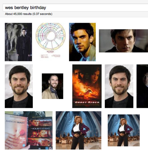 It's also Wes Bentley's birthday. He's even overshadowed in Google's image search.
