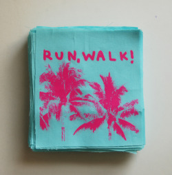 run, WALK! - One colour, pink print onto light blue fabric. Rad patches made for their Euro dates next week. Check them out here!