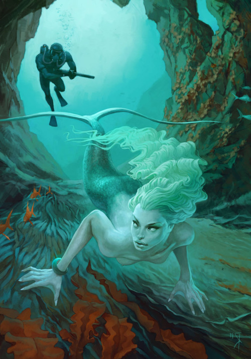 vickyveiled:  Hunting on mermaid by Waldemar von Kozak