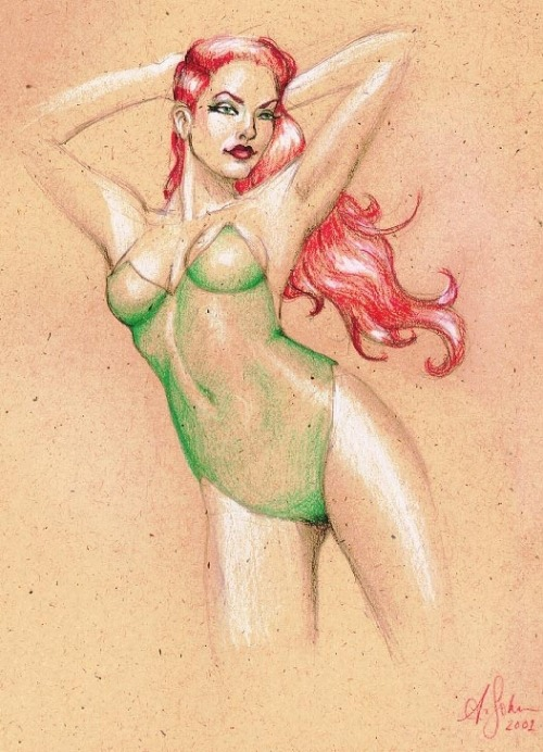 fyeahpoisonivy:  [Image: A full color illustration of DC comics character Poison Ivy. She is posing with her arms behind her head and looking off into the distance with a smile.] ifuckinglovebatman:  -Allison Sohn.