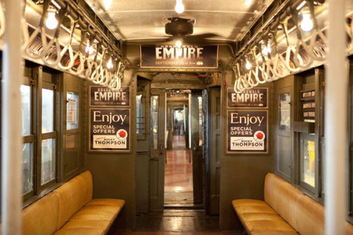 (via Flavorwire » 'Boardwalk Empire'-Style Vintage Subway Cars Now Running in NYC)