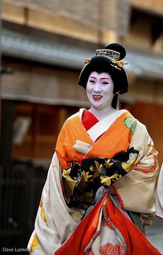 "okiya:  Setsubun and Obake  Setsubun is a Japanese festival celebrating the beginning of Spring in  Japan. On this day it is traditional for familes to throw beans out of  their house while chanting ""Devils out, luck in!"" to ward off bad luck  for the coming year.In Kyoto there are many ""Mamemaki""  ceremonies where preists and invited guests (such as maiko and geisha)  throw lucky beans people visiting shrines.  There is also another custom  in Kyoto called ""Obake"", which is like Japanese Halloween. This custom  is now confined mainly to the geisha districts, where geisha go from tea  house to tea house and perform a skit while dressed in outrageous  costumes. One of the rules of Obake is that things are topsy-turvey. Old dress as young, men dress and women and vice-versa."