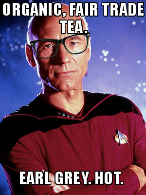 How did Hipster Picard burn his tongue? He drank tea before it was cool. Submitted by: imzadi