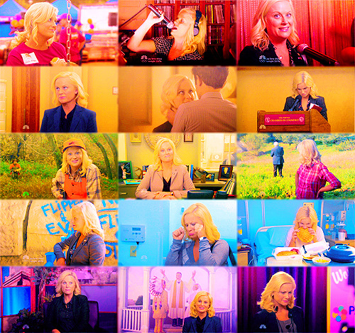 anon: leslie knope! um purple! or blue! or red. okay any color. green! idk.