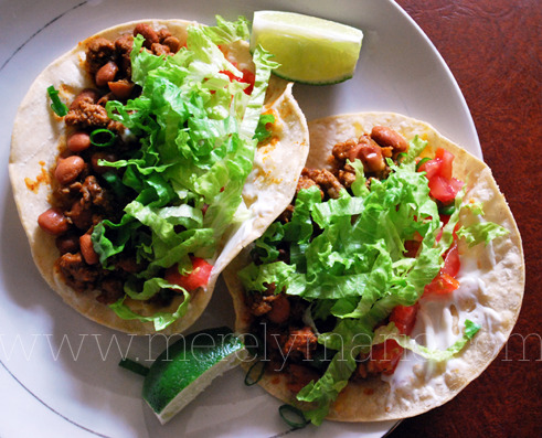 ground turkey & frijoles tacos…my fave!