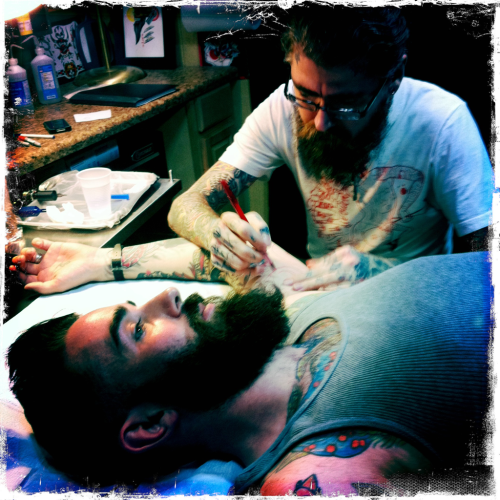 Getting tattooed by @jkellytattoo