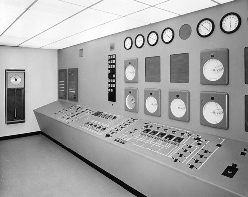 ckck:  Control panel at IBM. San Jose, California, circa 1958. Photograph by Arnold Del Carlo.