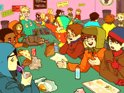 runmonsterun:  I ALWAYS WANTED TO DRAW THEM ALL EATING LUNCH Oh my god and then theres like, the foreign kid table in the corner Where everyone is angry and knows this school is shit Minus Pip because he's Pip.