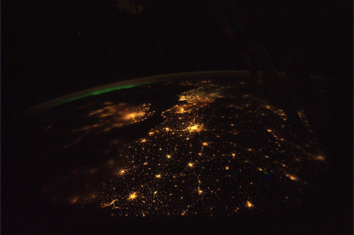 """Incredible Photos from Space: Aurora Borealis. In the distance on this beautiful night over Europe. The Strait of Dover is pretty clear as is Paris, the City of Lights. A little fog over the western part of England and London. It is incredible to see the lights of the cities and small towns against the backdrop of deep space. I am going to miss this view of our wonderful world… (11-8-2010). Incredible Photos from Space: NASA, Astronaut Wheelock""  Incredible Space Pics from ISS by NASA astronaut Wheelock"