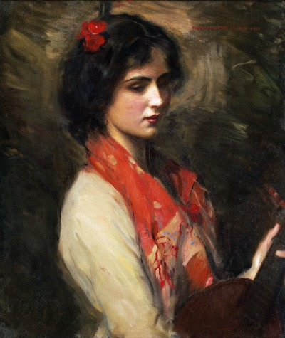 labellefilleart:  Young Woman with Mandolin, Harrington Mann