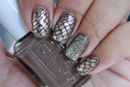 caleelovesnails:  Scales nails. Kept it a bit more simple for my first week of school (well in my case, it's simple). I used Essie - Mink Muffs (love this color!) for the base color & China Glaze - 2030 & Bundle Monster image plate for the scales print.