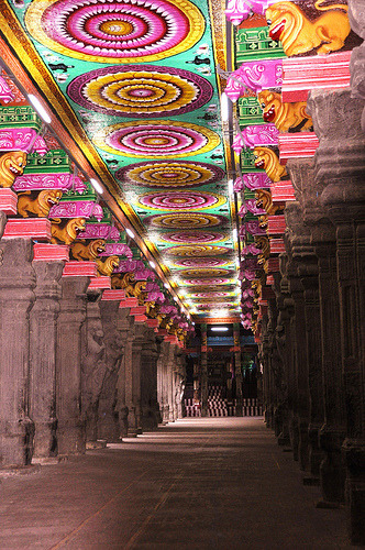 theworldwelivein:  prehistoric pop art in Madurai temple (by marinfinito)  I love this temple. If I had to pick my ORIGIN, it'd be the city of Madurai. It's my maternal homeground, my great-grandmother's home. Our family lands. I always identified more with my mother's side of the family. Especially this meenakshi temple.