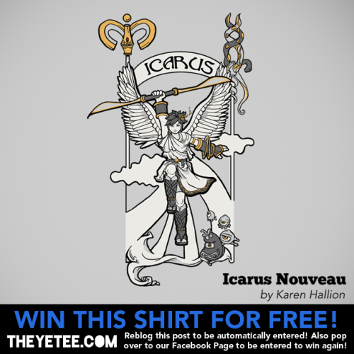 "theyetee:  Icarus Nouveau by Karen Hallion Pit gets a Mucha needed makeover. Pick up Karen Hallion's Alphonse Mucha inspired ""Icarus Nouveau"" for $11 until Sept 8th. But wait! There's MORE! You can win this tee for free! Simply reblog this photo or pop over to our Facebook Page and for another way to win a free shirt! Seriously! That's all it takes to win this awesome tee for free! But hey. You should probably just buy one to be safe: LINK Winners will be announced on our Facebook Page on Sept 8th at 2PM CST  geez I haven't played Kid Icarus in ages!"