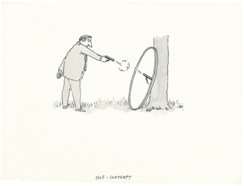 "Roz Chast on William Steig  Steig's drawings seem to flow effortlessly from his mind to his pen and onto the paper. I doubt he ever looked at a blank sheet and thought, ""I have nothing worthwhile to say today,"" or ""I can't draw a car as well as Joe Shmoe, so why don't I crawl back into bed and wait for the day to be over."" Steig gave himself permission to be playful and experimental. One of the many wonderful things about looking at his drawings is their message, especially to his fellow artists: Draw what you love and what interests you. Draw it how you want to draw it. When we are children we do this instinctively. But somewhere in our passage from childhood to adulthood, the ability to be truly and fearlessly creative is often lost. To quote Pablo Picasso, Steig's favorite artist, ""All children are artists. The problem is how to remain an artist once we grow up.""  Steig is one of my favorites—Chast's essay is from a new book on his work, Cats, Dogs, Men, Women, Ninnies & Clowns: The Lost Art of William Steig"