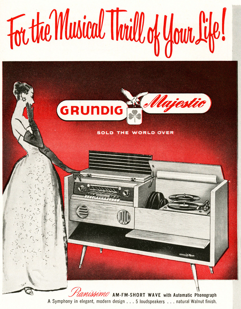 theniftyfifties:  1950s Grundig phonograph advertisement.  So classy