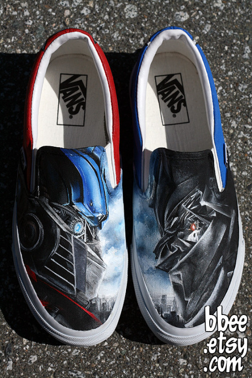 These shoes were a custom order for Carlos in Texas. He requested a Transformers theme, so I painted one shoe red and one shoe blue with Optimus Prime on the right shoe and Megatron on the left shoe. On the heels of the shoes I painted the Autobot and Decepticon logos. Sold.