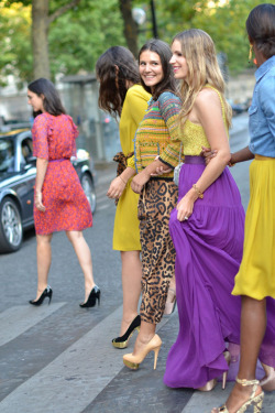 Margherita Missoni, Eugenie Niarchos and Shala Monroque crossing the street after Giambattista Valli Couture show in Paris.