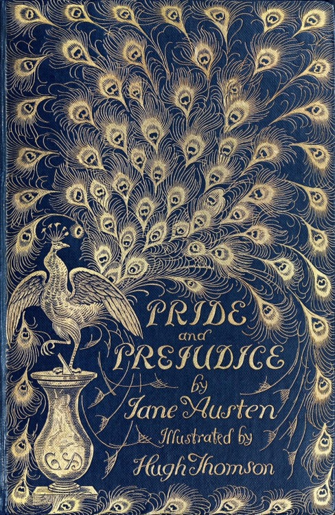 oldbookillustrations:  Front cover from Pride and prejudice, by Jane Austen, illustrated by Hugh Thomson. London, 1894.  (Source: archive.org)