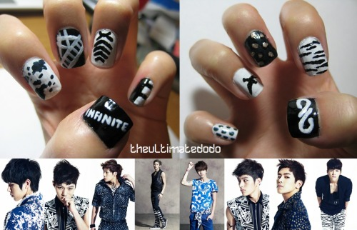 "theultimatedodo:  FIRST OFFICIAL POST: Infinite Inspired Nails!I decided to procrastinate on homework today and did my nails instead :) They're inspired by Infinite's Over the Top album photos! Left hand, thumb to pinky: The word Infinite, Sungyeol's shirt, L's shirt, Sungkyu's neck tattoo, Dongwoo's pantsRight hand, thumb to pinky: New logo for Over the Top, Woohyun's pants, Hoya's jacket, L's arm tattoo, Sungjong's belt? scarf? (the thing around his waist)Sungkyu's and L's tattoos look like they're upside-down D:After the seven members and two logos, I had one spot left over so I decided to do two Myungsoo designs! I'm actually Woohyun biased, but I really wanted to try L's bird tattoo. Except I drew it on backwards -_- I used the ""flip vertical"" function instead of the ""rotate 180"" function on Paint for reference, hence the mirrored bird LOL. Also, the edges are a bit messy although I tried to clean them already, but I didn't want to accidentally erase anything on my nail, so sorry if it doesn't look too neat D: Also, I used SognandoSimpara's ideas from her two Youtube tutorials for Myungsoo's shirt and Dongwoo's pants (although some of the other designs were the same, but by coincidence!) Her other designs are pretty cool too, go check them out!I'll be doing more K-pop nail designs in the future, so look out for them! :)  oh deborah you woulddddd. <3"