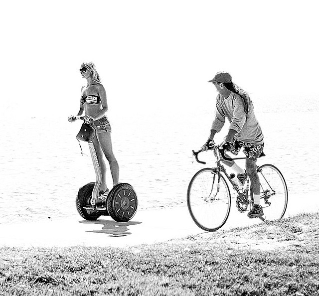 the pickup line by Andy B&W on Flickr.Do segways count as weird bikes?