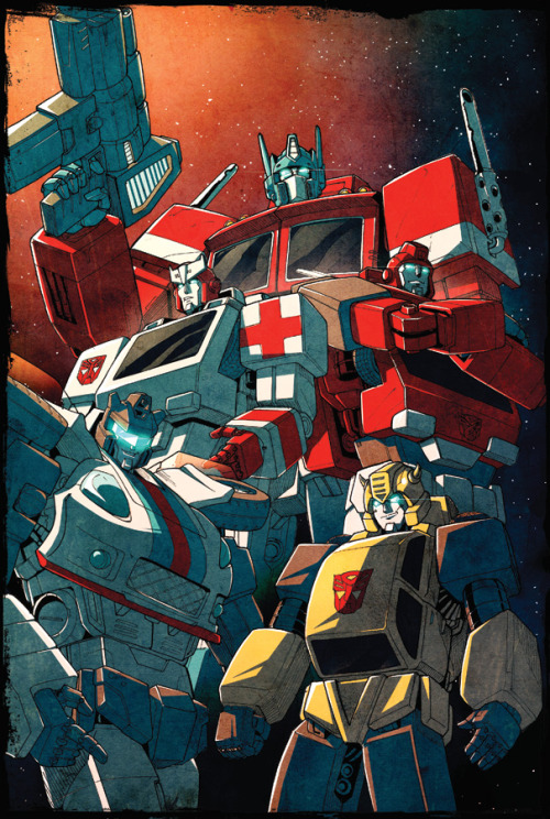 comicsforever:  The Autobots // pencils by Will Mangin, colors by *dcjosh (2011) featuring, top to bottom: Optimus Prime, Ratchet, Ironhide, Jazz and Bumblebee.