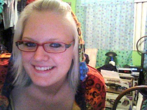 Put on whore makeup and was chillin in my rainbow jacket, so I took webcam pictures of myself, cause that's what whores do, right?