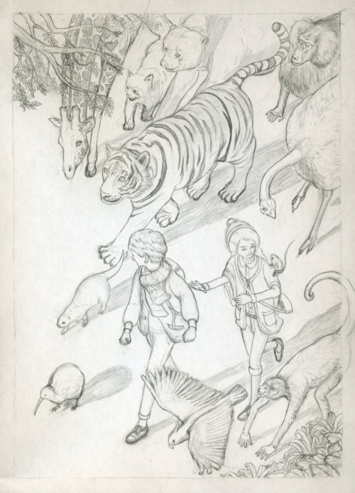 A more refined sketch of the zoo poster which I'll be transferring onto illustration board and painting.