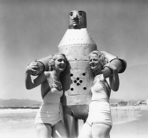 Two bathing beauties and a friend at Venice Beach, CA - 1935
