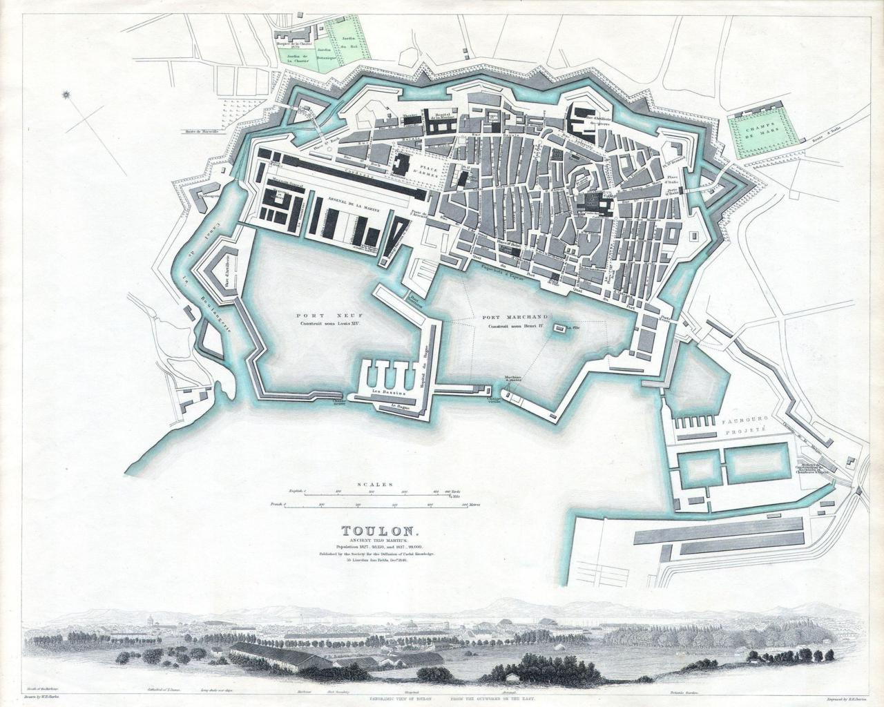 archimaps:  Map of Toulon in 1840, France